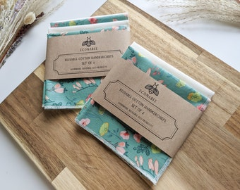 Cotton Handkerchief / Reusable Hankies - Set Of 2 or 4 Turquoise and Green Floral and Cream- Gifts for mother, friends for Spring/Summer