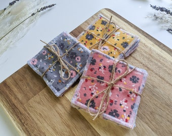 NEW Surged Edge Face Pad Set of 3, 5 or 7 Floral Reusable Face Pads Makeup Pad 100% Cotton and Bamboo Towelling Fabric - Spring Gift for her