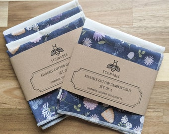 Cotton Handkerchief / Reusable Hankies Set Of 2 or set of 4 Navy Beehive and Cream Gift Mother Wedding Favours Friend Birthday