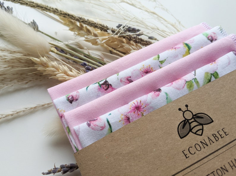 Cotton Handkerchief  Reusable Hankies gran for Spring friends Gifts for mother Set Of 2 or 4 Plain Pink and Spring Blossom Print