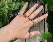 Wire Wrapped Chipped Crystal Rings