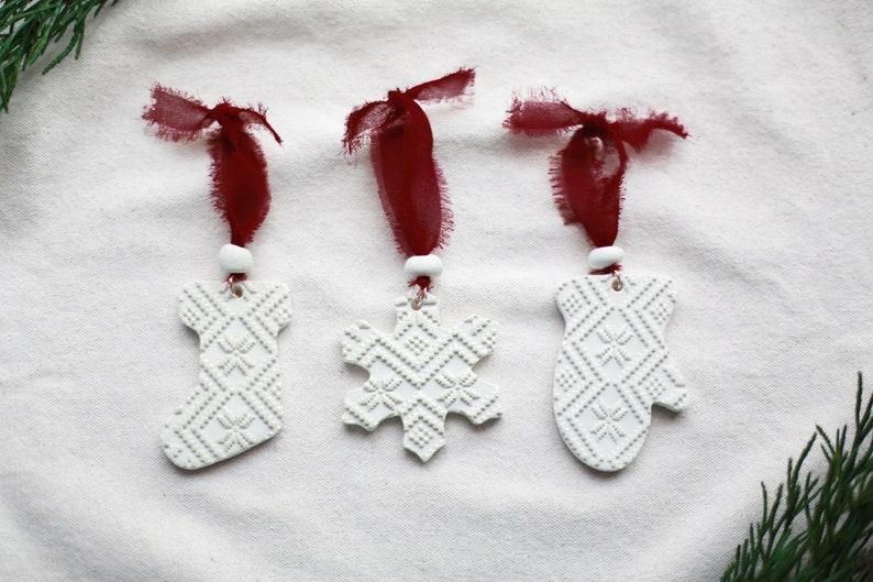 Set of Three Christmas Ornaments Boho White Minimalist Ornaments European Farmhouse Ornaments Stocking Snowflake Mitten Scandinavian