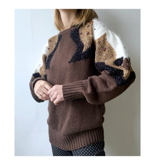 Brown vintage angora glitter lurex sweater - vinta