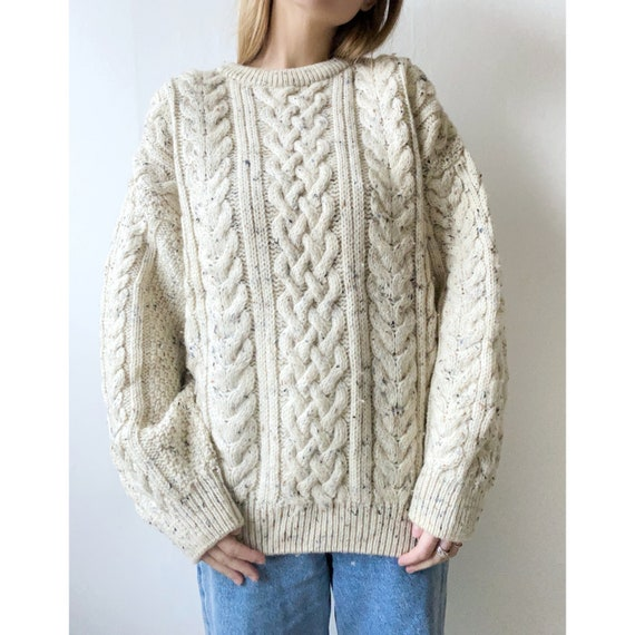 Vintage wool knitted cable sweater - vintage wool
