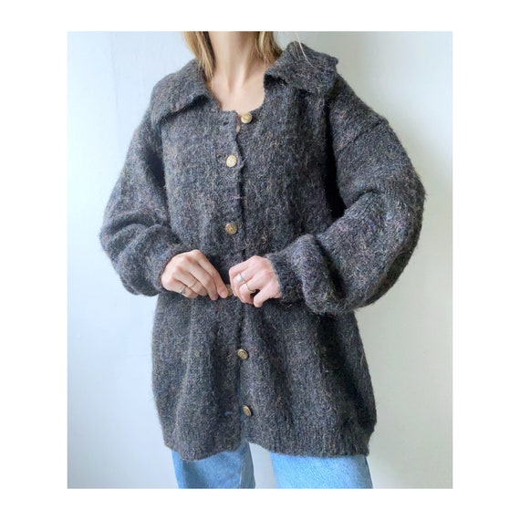 chunky vintage mohair cardigan with glitter and go