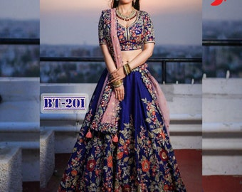 Exclusive Heavy Net Lehenga Choli With Embroidery And Motti Work With Satin Banglory Silk Blouse For Women