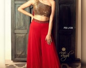 Designer Georgette Blouse Palazzo With Zari And Sequence Work With Baglory Silk Crop Top For Women-Fancy Dress
