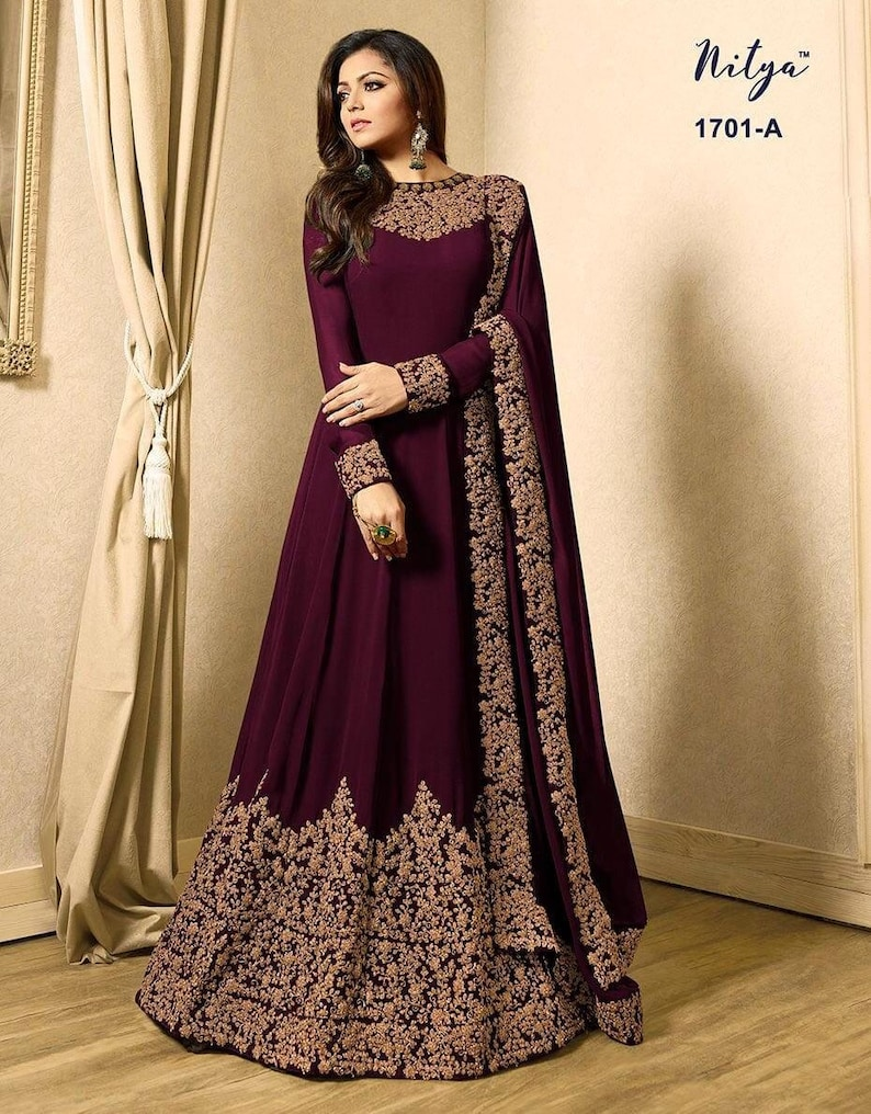 Different Georgette Gown With Dori Embroidery Work And  Georgette Dupatta For Women-gown