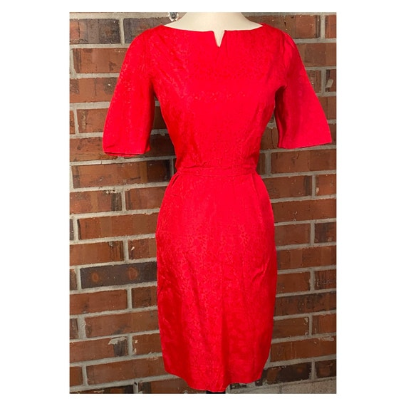 Vintage 1950s Red Wiggle Dress | 1950s Pin Up Red… - image 2