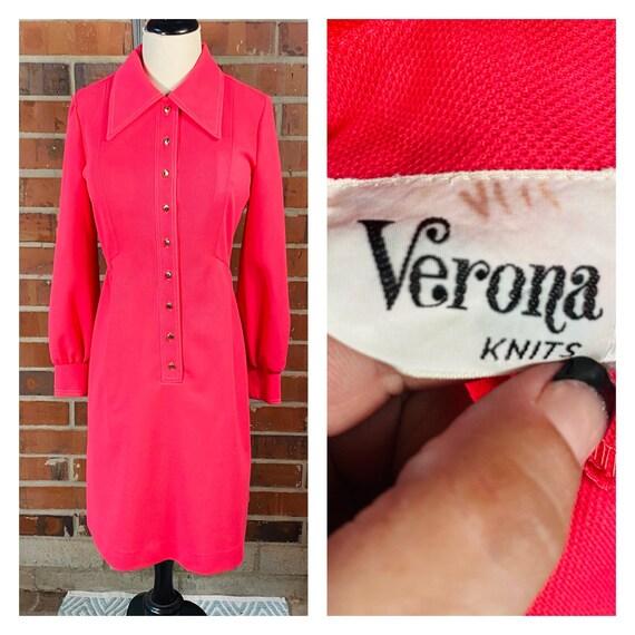 1960s Vintage Pink Knit Dress | Size 8 Vintage Ve… - image 3
