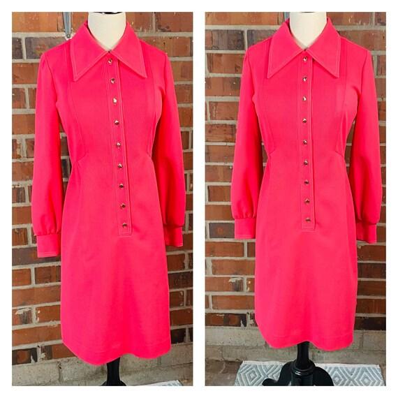 1960s Vintage Pink Knit Dress | Size 8 Vintage Ve… - image 5