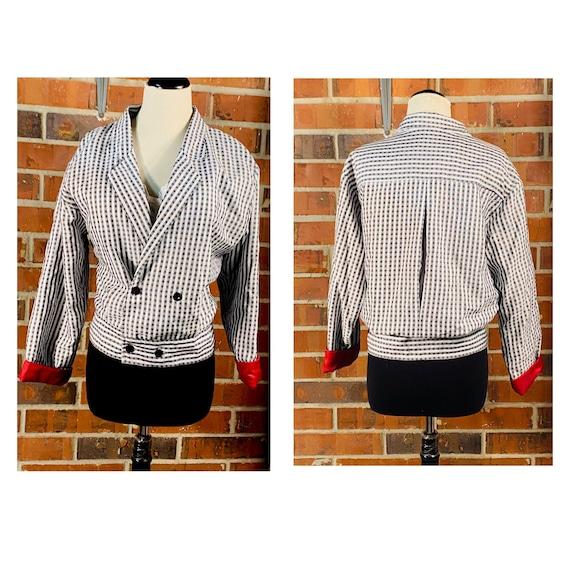 Vintage 1980's Crop Waist Blazer Jacket | Size S V