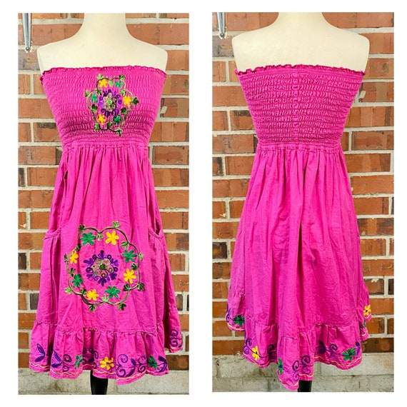 Vintage 1970s Embroidered Flower Ruffle Dress, 70… - image 1