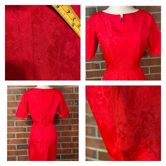 Vintage 1950s Red Wiggle Dress | 1950s Pin Up Red… - image 5
