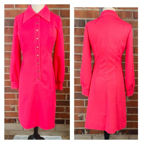 1960s Vintage Pink Knit Dress | Size 8 Vintage Ve… - image 1