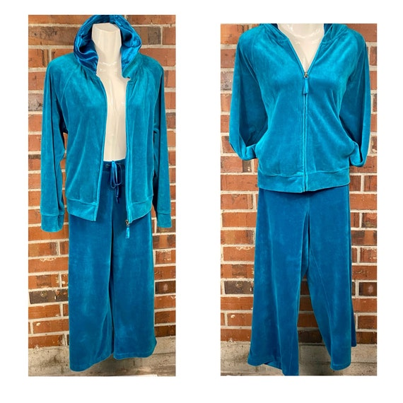 Y2K Teal Velour Track Suit Size Petite XL, velour