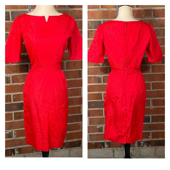 Vintage 1950s Red Wiggle Dress | 1950s Pin Up Red… - image 4