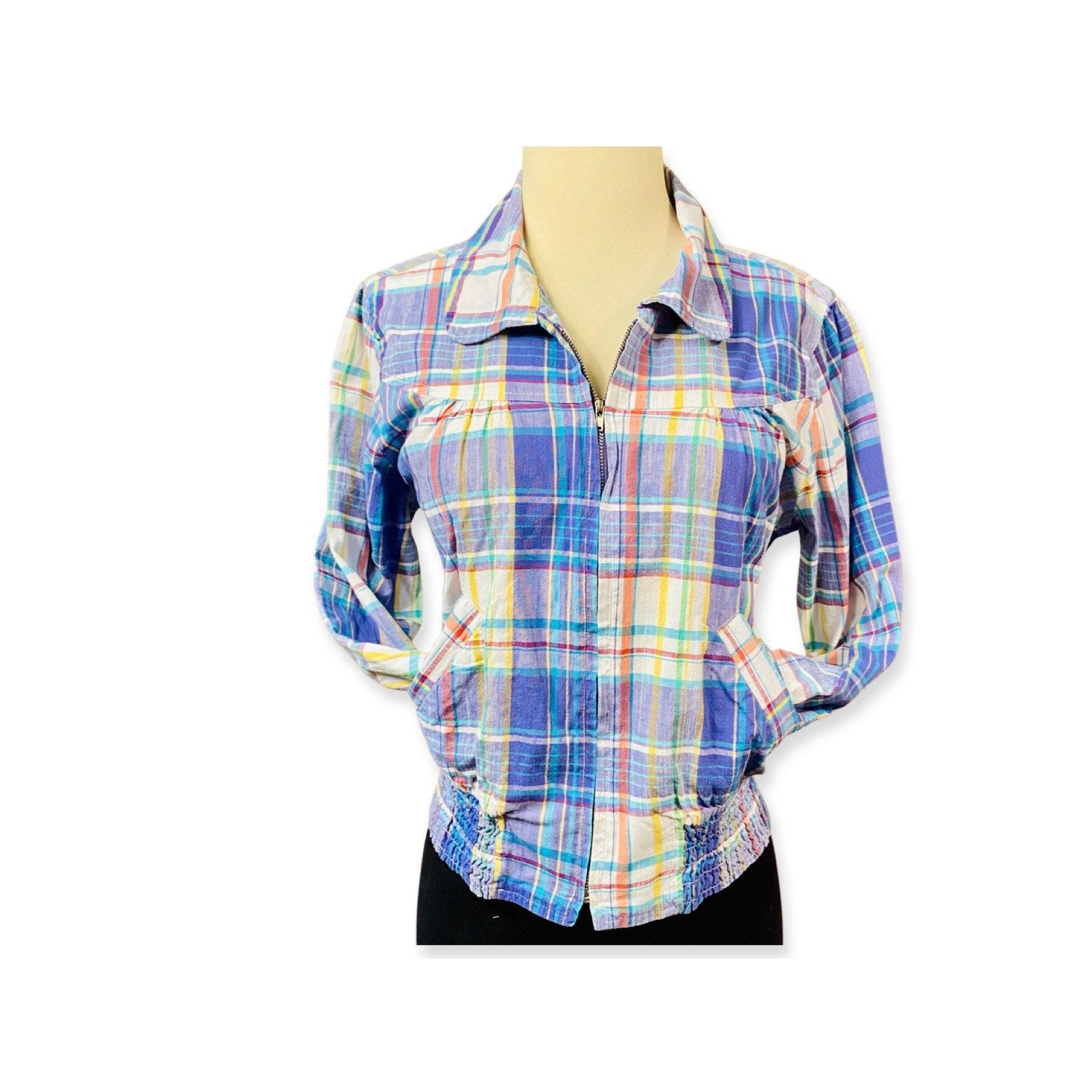 80s Dresses | Casual to Party Dresses Vintage 1980S Pastel Plaid Cropped Cotton Jacket, Super Cute Cropped Plaid 80S Cotton Jacket Zip Up Top W Pockets $44.00 AT vintagedancer.com