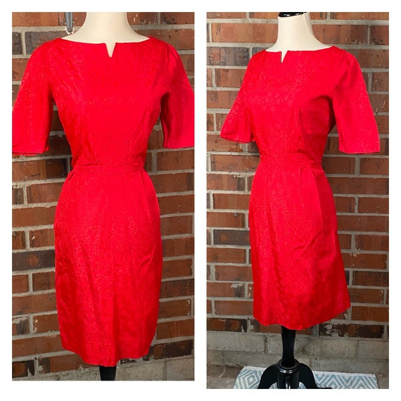 Vintage 1950s Red Wiggle Dress | 1950s Pin Up Red
