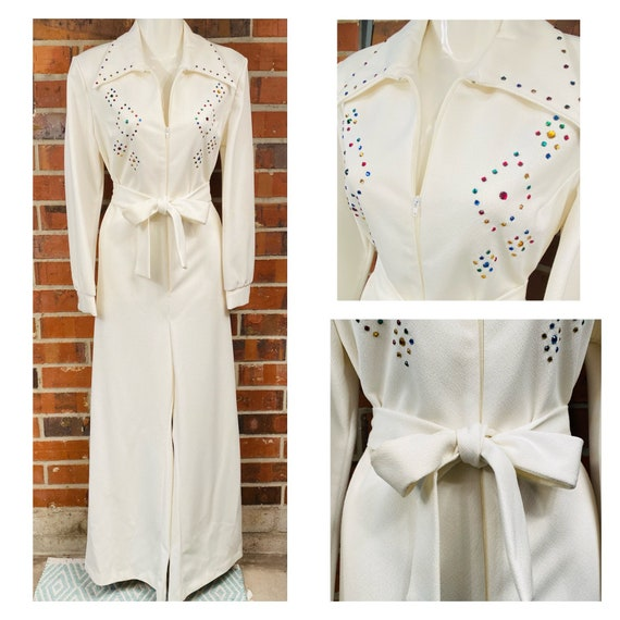 Vintage 1970s white bejeweled Jumpsuit with waist