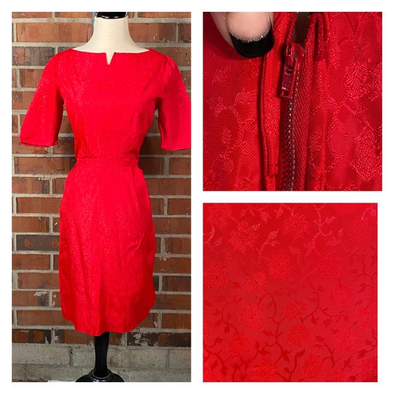 Vintage 1950s Red Wiggle Dress | 1950s Pin Up Red… - image 3