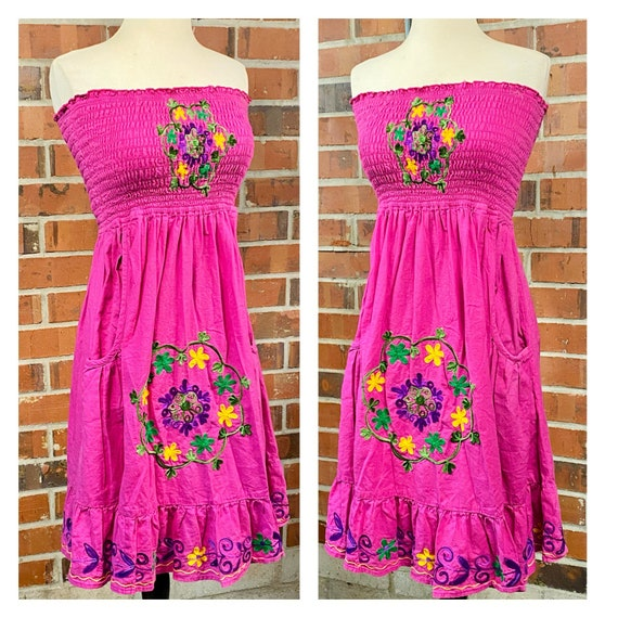 Vintage 1970s Embroidered Flower Ruffle Dress, 70… - image 2