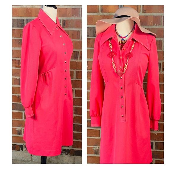 1960s Vintage Pink Knit Dress | Size 8 Vintage Ve… - image 2