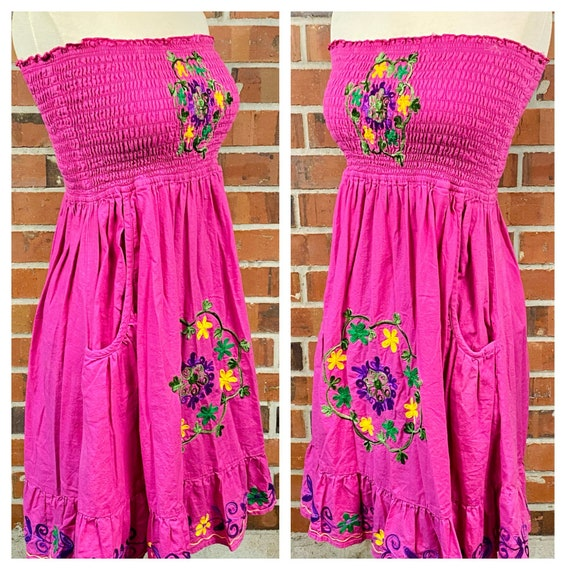 Vintage 1970s Embroidered Flower Ruffle Dress, 70… - image 4