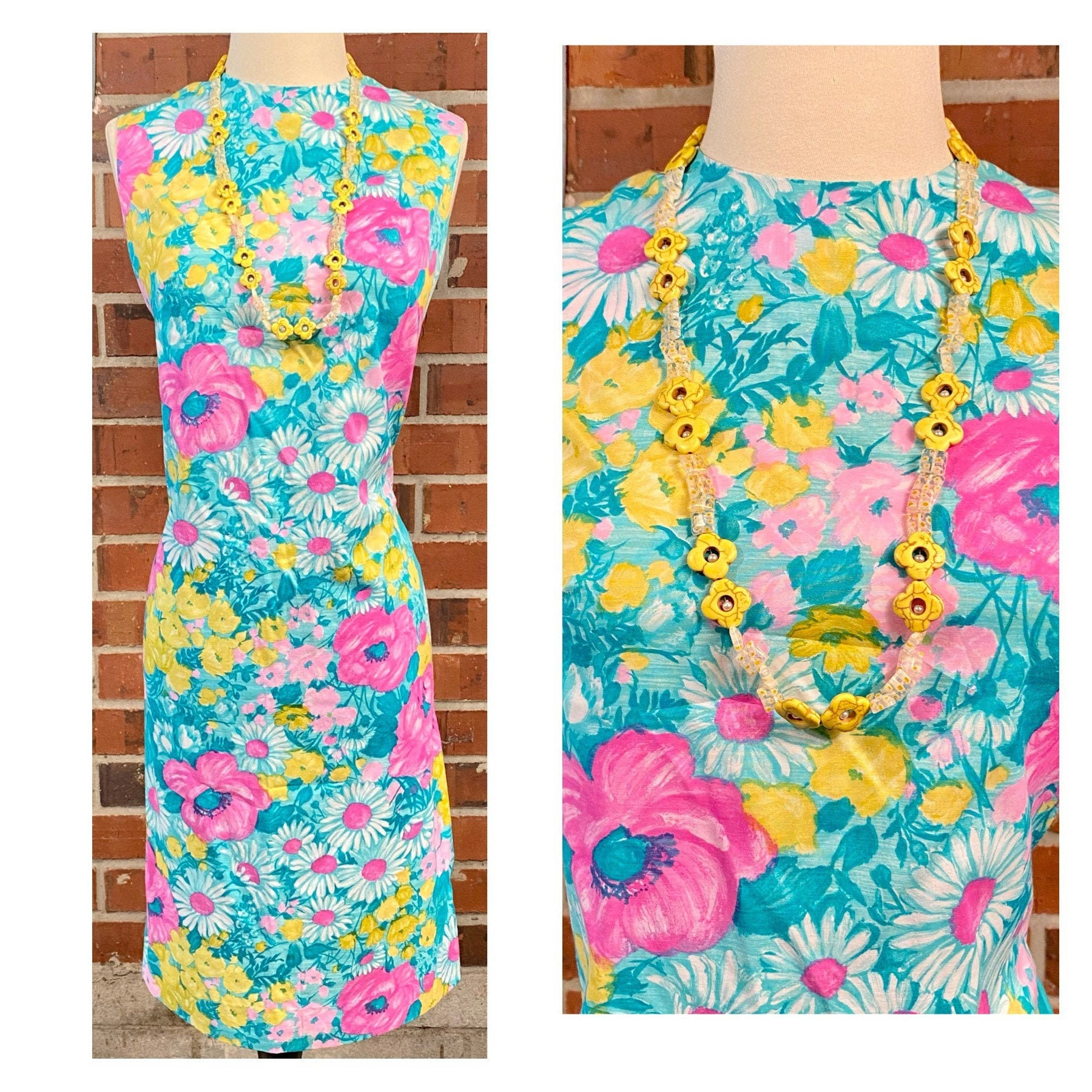 60s -70s Jewelry – Necklaces, Earrings, Rings, Bracelets Vintage 1960S Floral Sheath Dress, Colorful 60S Bright Color Neon Flowers Hot Pink Dress $61.60 AT vintagedancer.com