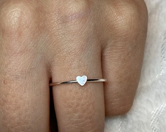 Heart Ring \u2022 Dainty Heart Ring \u2022 Sterling Silver Stacking Ring \u2022 Dainty Ring