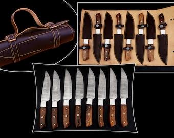 CUSTOM HANDMADE DAMASCUS 8 pcs Kitchen Steak Knives set, Chef set, Walnut Wood, Anniversary gift,Birthday gift,best gift