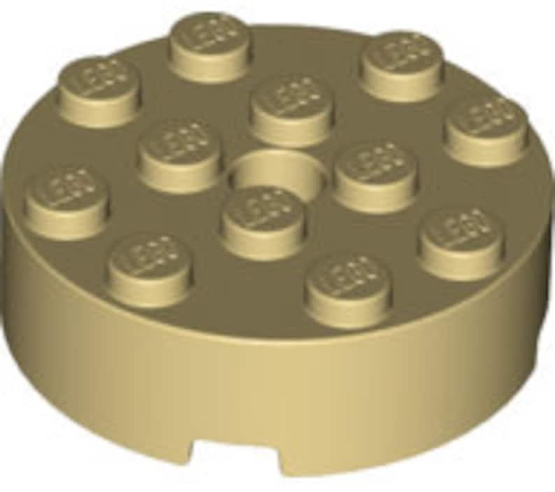 10 Lego Tan Round Bricks 4 x 4 with Hole