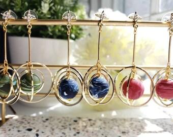Planet earrings, universe statement earrings,galaxy dangle earrings