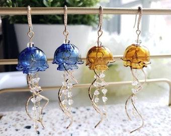 Jellyfish earrings, glass dangle earrings