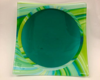 Fused Glass Green Opal Plate with Transparent Teal Center