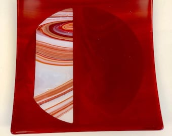 Fused Glass Red Opal Plate