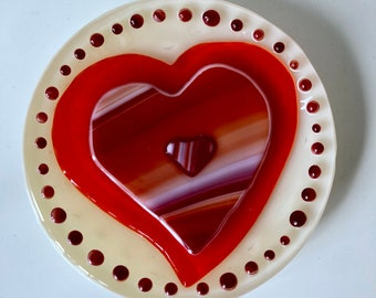Fused Glass Orange and Red Heart Dish No. 1