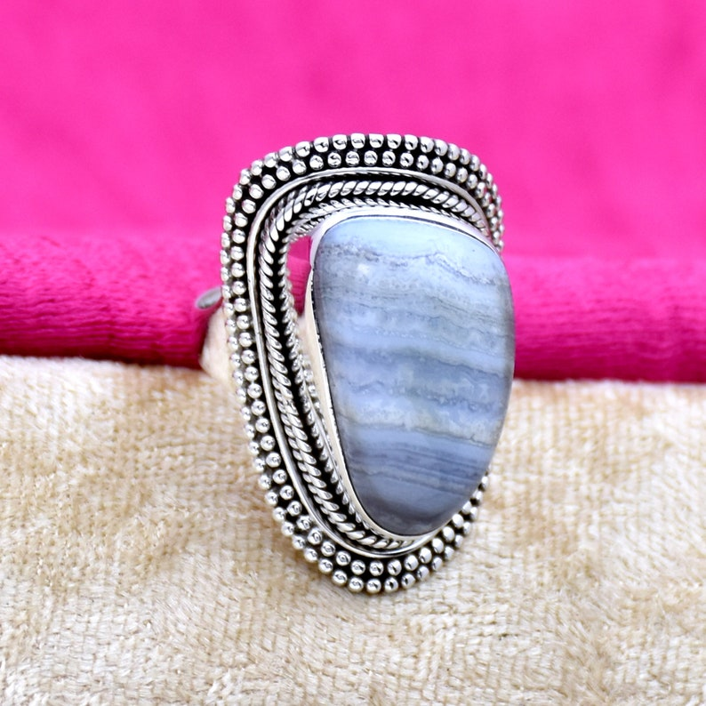 handmade Jewelry Handmade Ring vintage Ring Anniversary Ring 925 Sterling silver Ring Filigree Ring Gift For Her Blue lace agate ring