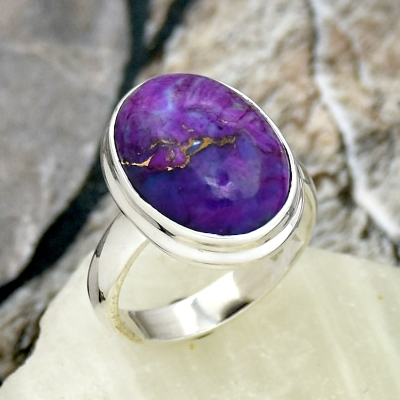 Statement Ring Handmade Jewelry Gift For Her 925 Sterling Silver ring Purple Copper Turquoise Ring Turquoise Ring Silver Boho Ring