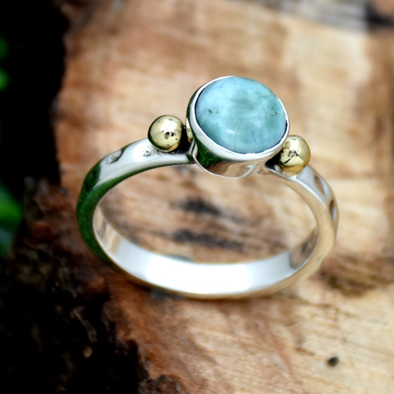 925 Sterling Silver Ring Larimar Ring Round Gemstone Ring Two Tone Ring Handmade Jewelry Anniversary Ring Gift For Her Hammered Ring