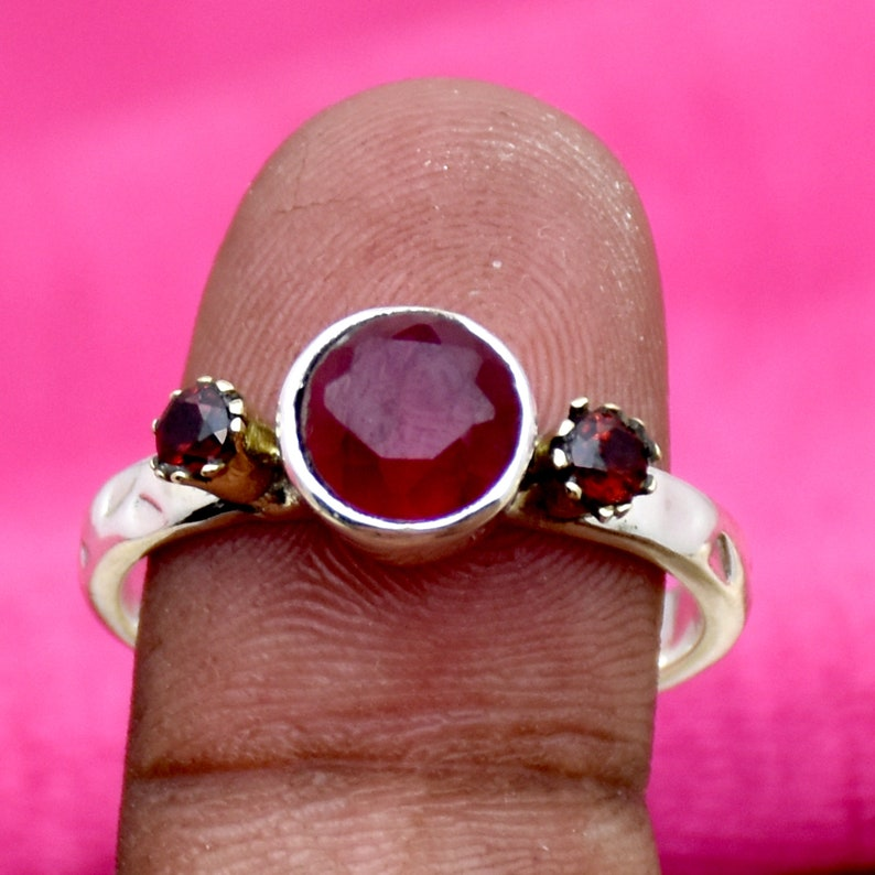 Handmade Ring 925 Sterling silver Ring Ruby and Garnet Ring Two Tone Ring Bohemian Ring Anniversary Ring Gift For her Indian Ruby Ring