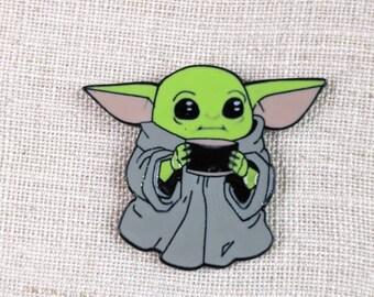 Baby yoda  with coffee needle minder | neodymium magnets | Cross stitch | Embroidery | needlework | Needle nanny | refrigerator magnet
