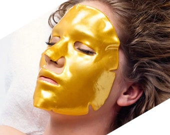 Face Mask For Women, At Home Beauty Treatment, Gold Collagen Sheet Mask for Face, Plump Fine Lines and Heal Wrinkles, Crows Feet & Mouth