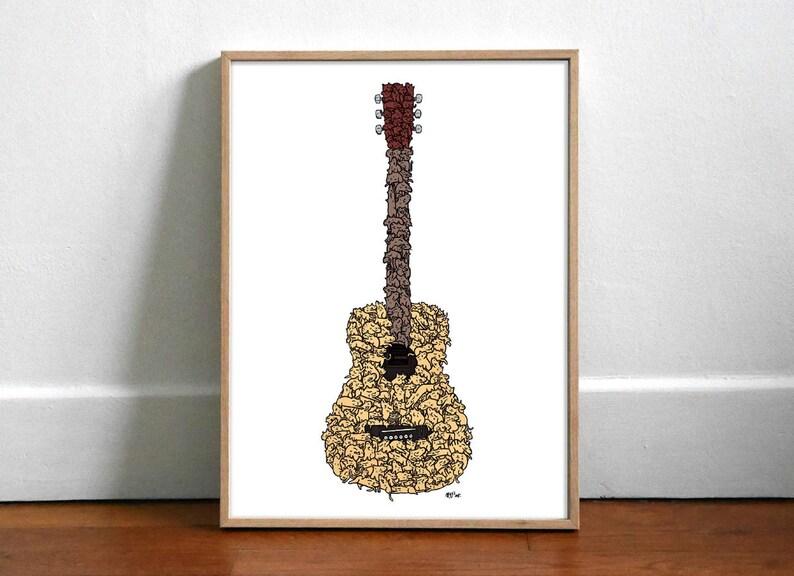 Guitare en Chat Majeur  Affiche 30x40cm image 0