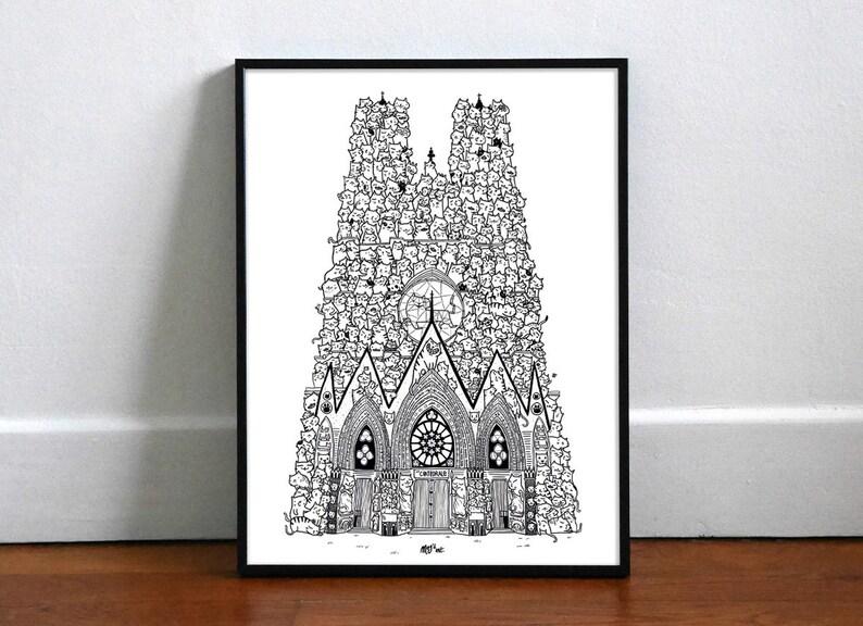 Chatédrale de Reims  Noir et Blanc  Affiche 30x40cm image 0