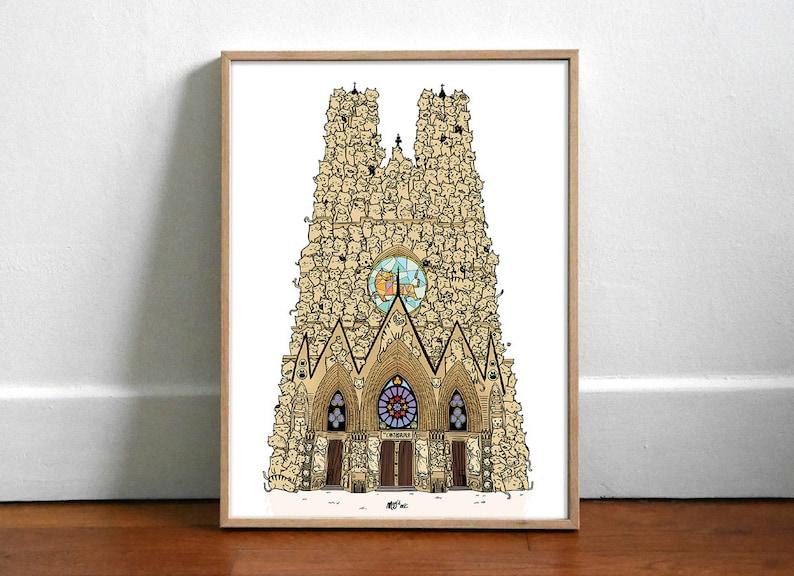 Chatédrale de Reims  Couleur  Affiche 30x40cm image 0