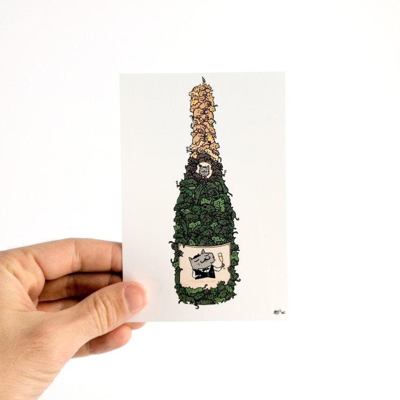 La Cuvée du Chat  Couleur  Carte Postale 10x15cm image 0