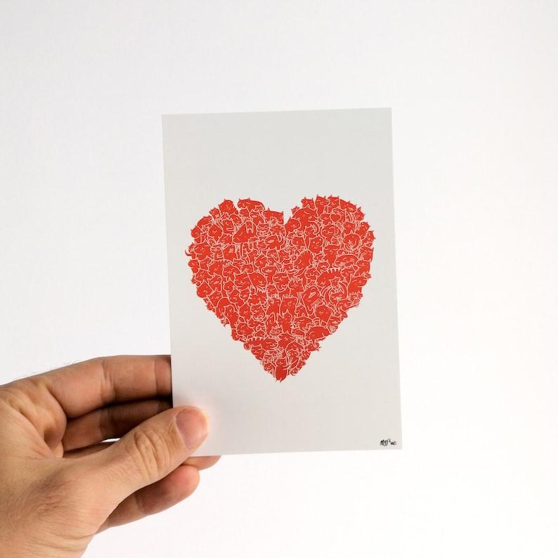 Matou Coeur  Carte Postale 10x15cm image 0