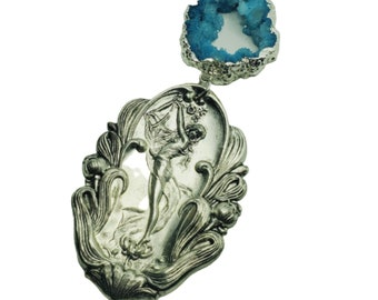 """Art Nouveau Lake Goddess and Aqua Quartz Necklace ~ """"Lily"""" ~ OOAK MirMay Designs"""
