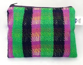Stripy Handmade Herringbone Weave Pouch. Handwoven Make-up Bag